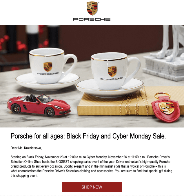 Black-Friday-Email-Example-by-Porsche_Sale-Announcement