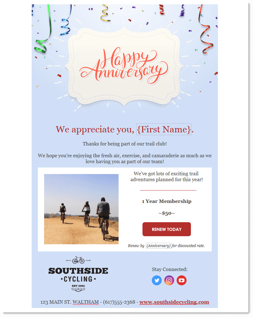 Happy anniversary email with option to renew product