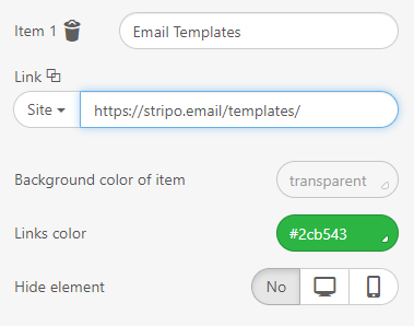 Stripo How to Build Email with Stripo Giving Names to the Menu Items