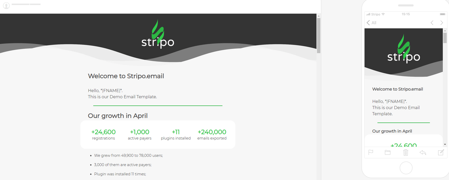 Stripo Sending Test Emails Preview