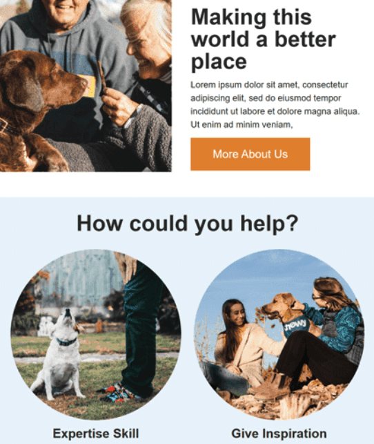 emotional photos in HTML email templates for nonprofit