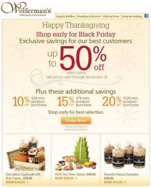 Ecommerce-Thanksgiving-email-deal-from-Wolferman