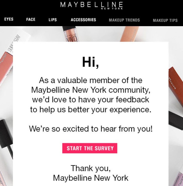 Stripo-Hyperpersonalization-Maybelline-Asking-to-Share-Some-Info