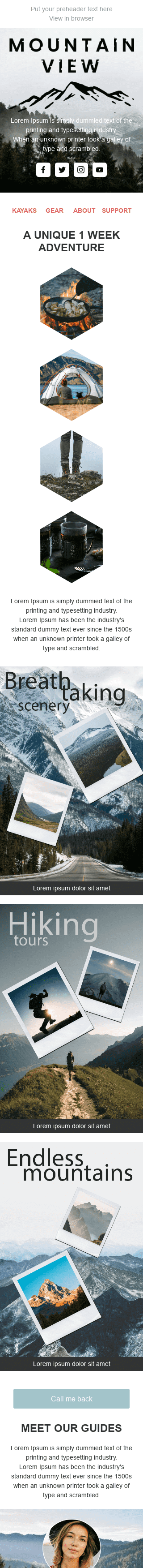 Promo Email Template «Mountain View» for Tourism industry mobile view