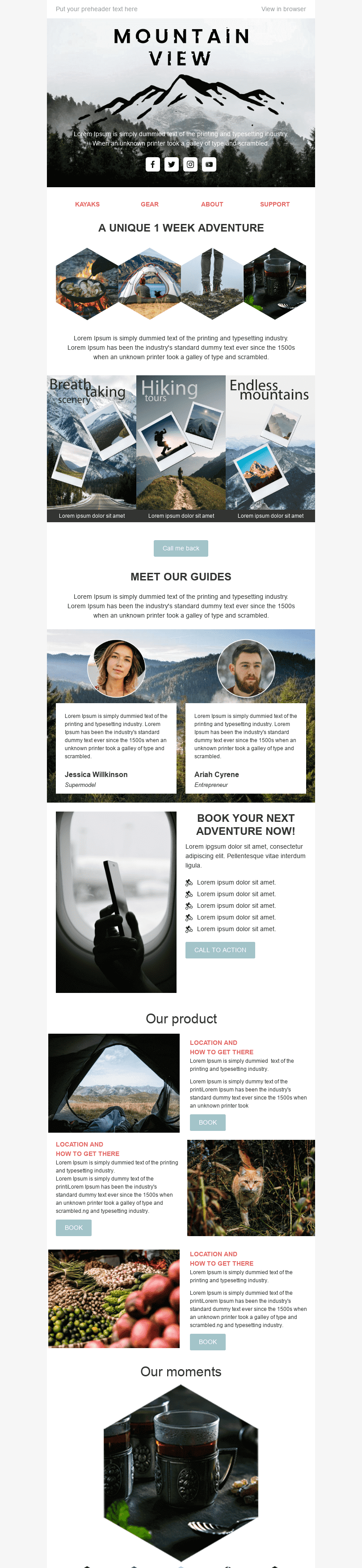 Promo Email Template «Mountain View» for Tourism industry desktop view