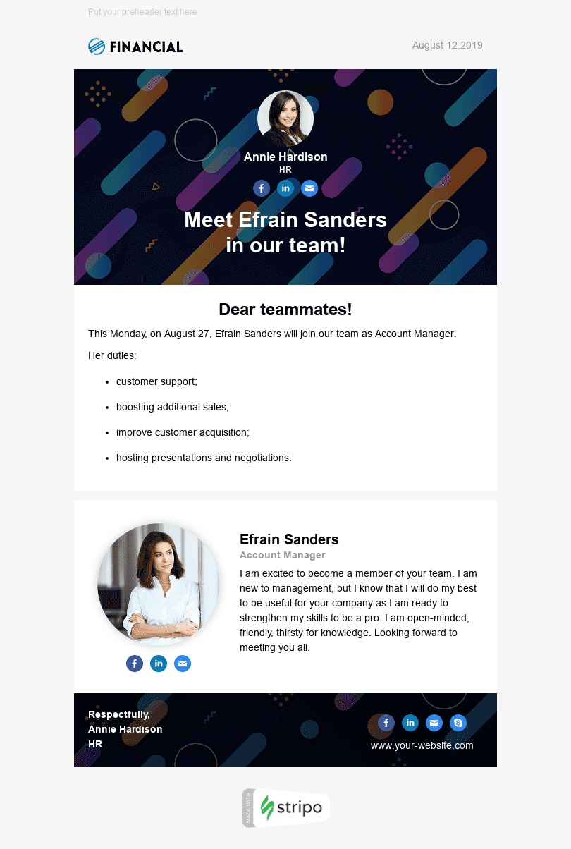 Internal Email Template «Meet The New Hire» for Human Resources industry desktop view