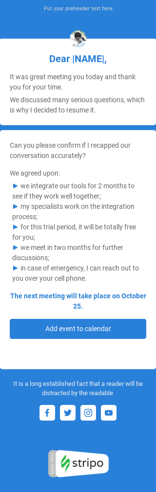 Follow-up Email Template «Thank you for the meeting» for Business industry mobile view