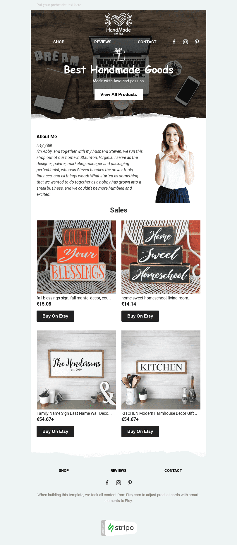 Promo Email Template «Best Handmade» for Ecommerce industry desktop view