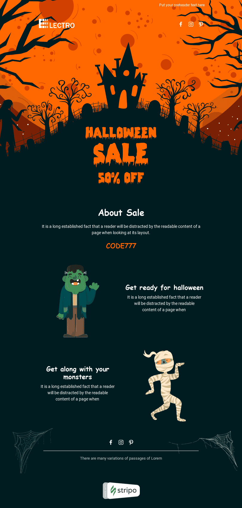 Halloween Email Template «Scary Discounts» for Gadgets industry desktop view