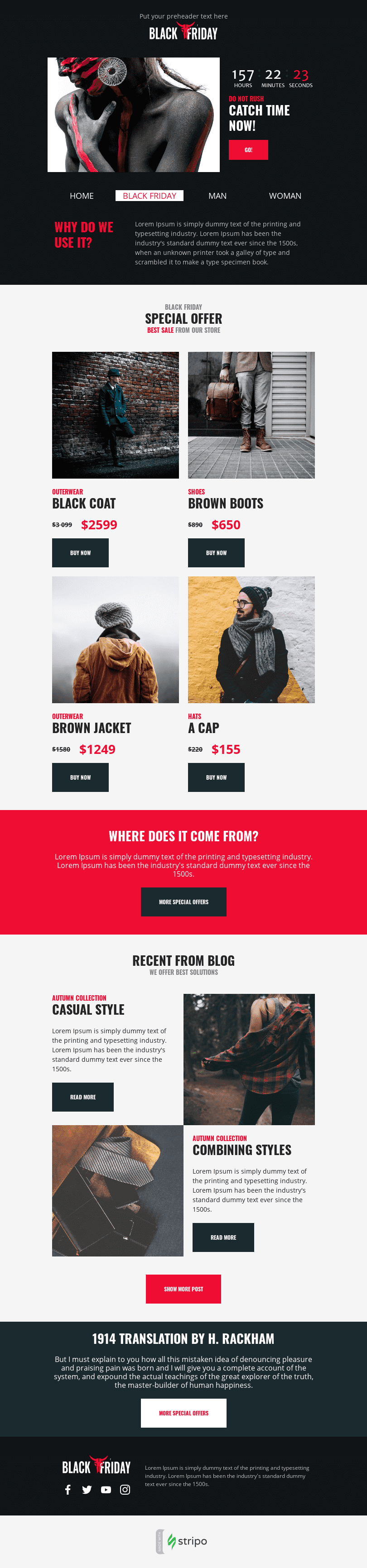 Promo Email Template «Time Sale» for Fashion industry desktop view
