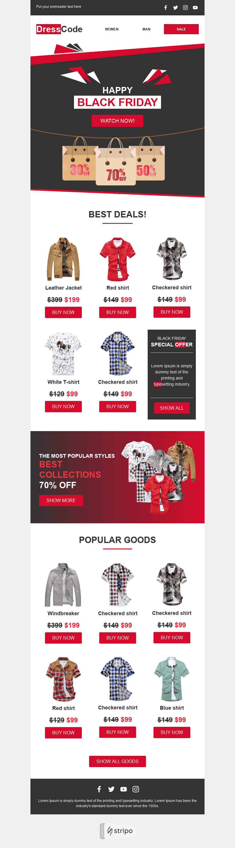 Promo Email Template «Dress Code» for Fashion industry desktop view