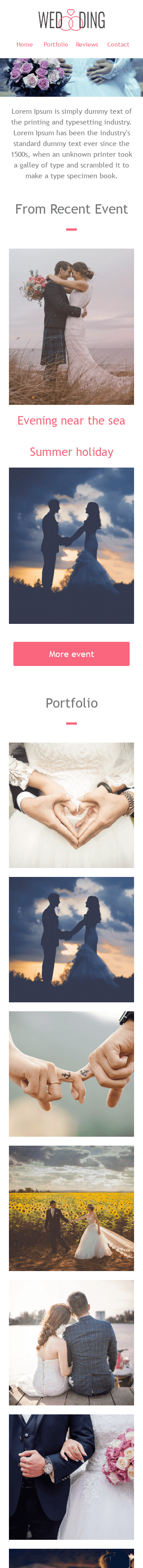 Promo Email Template «White Wedding» for Fashion industry mobile view