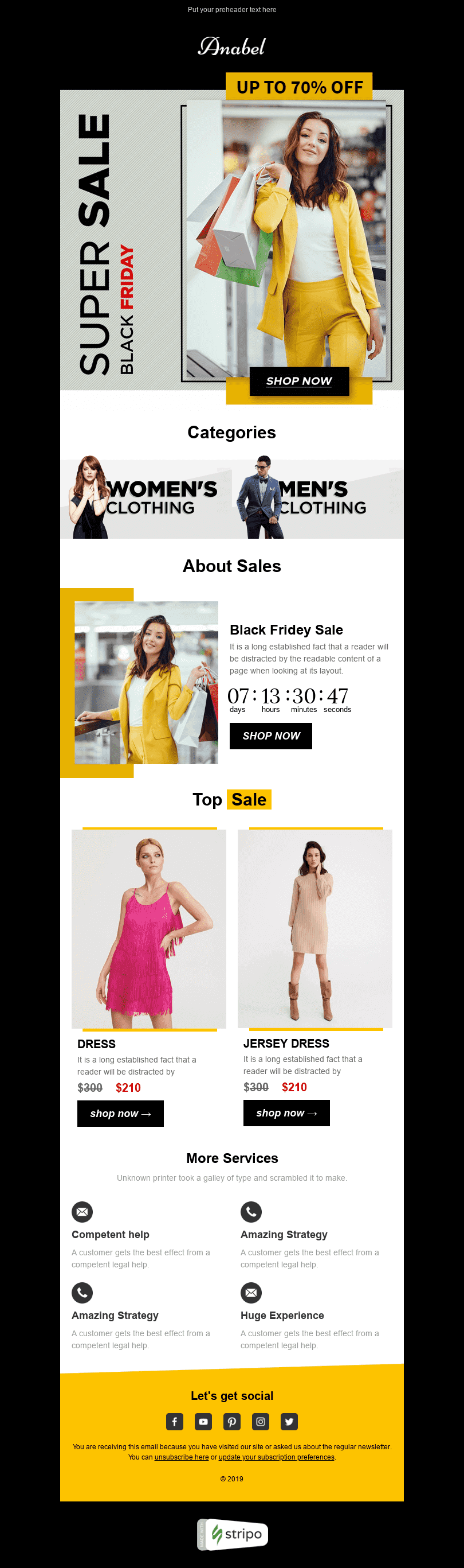 Promo Email Template «Hot prices» for Fashion industry desktop view