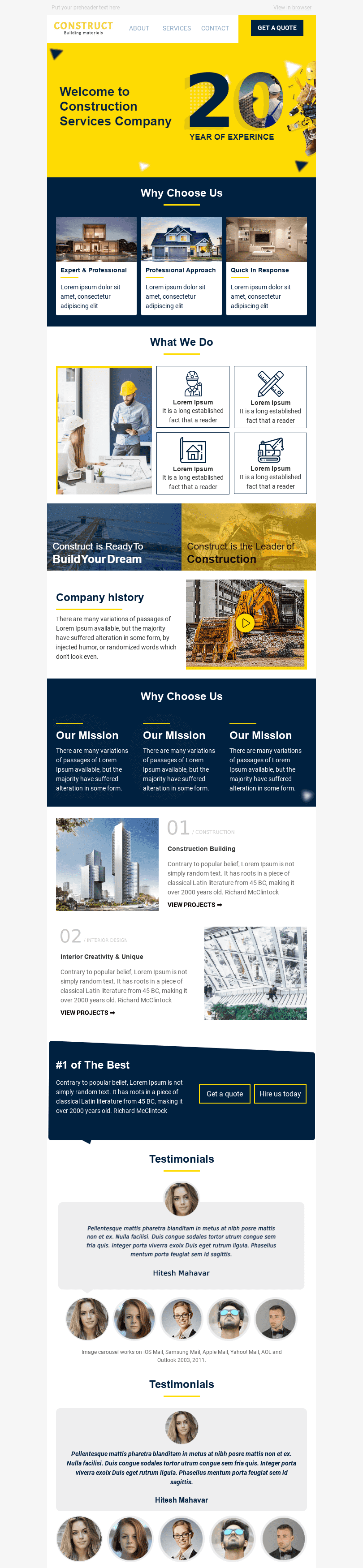 Promo Email Template «Build the Future» for Construction industry desktop view
