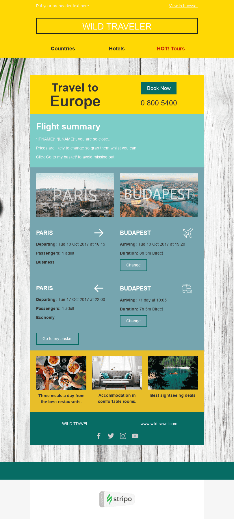 Order Email Template «Perfect Weekend» for Tourism industry desktop view