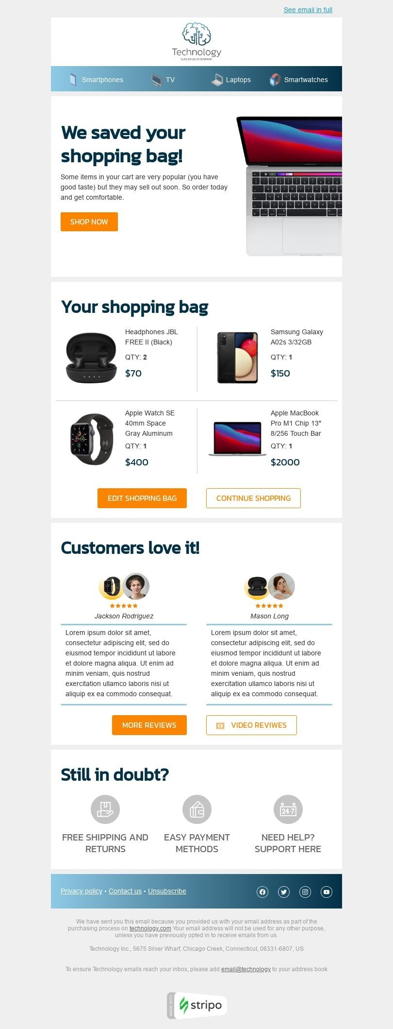 Retargeting Email Template «Your abandoned cart» for Gadgets industry desktop view