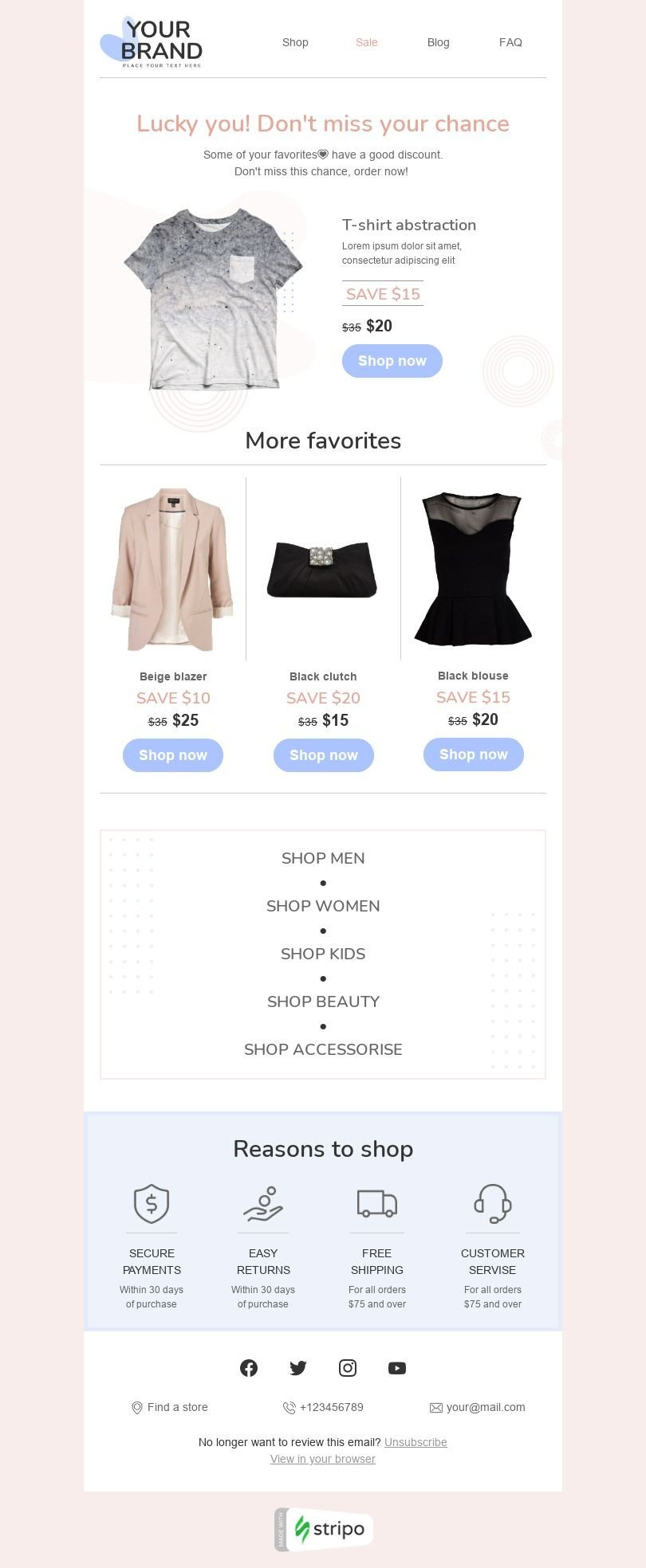 Retargeting Email Template «Don't miss your chance» for Fashion industry desktop view