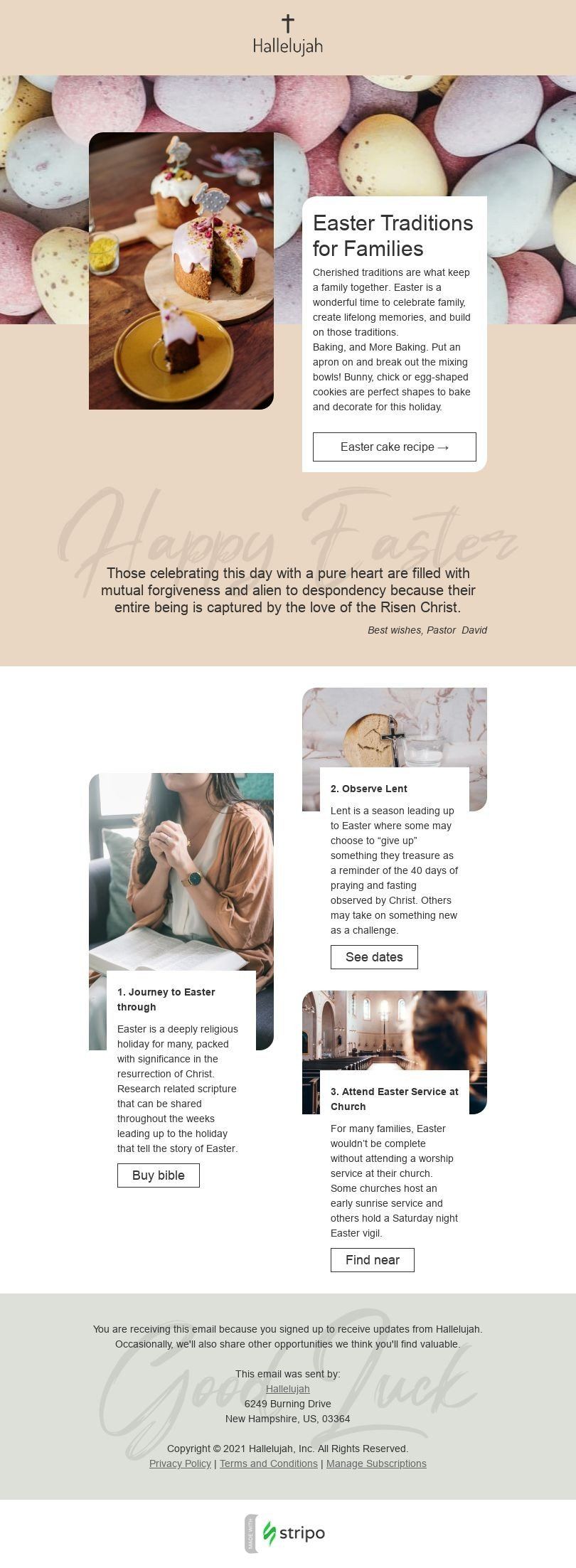 Easter Email Template «Easter Traditions» for Church industry desktop view