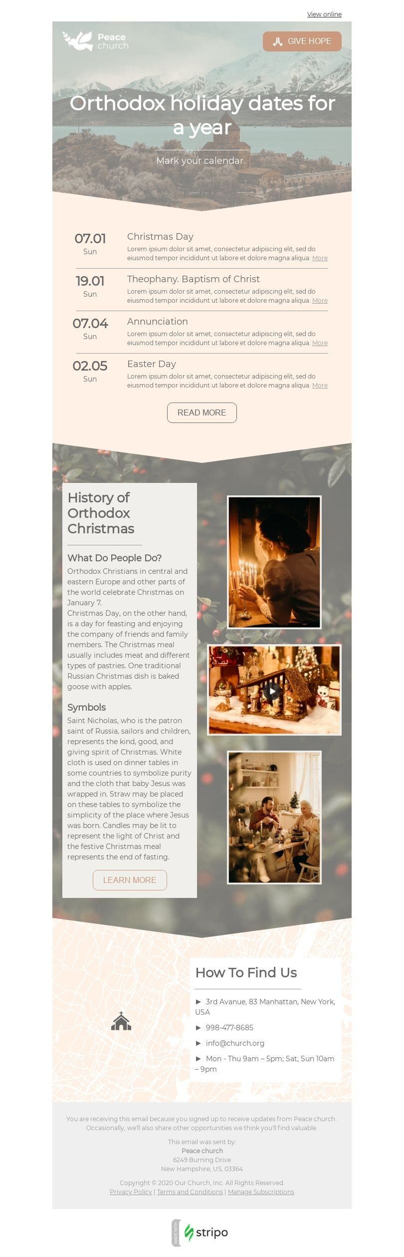 Promo Email Template «Orthodox holidays» for Church industry desktop view