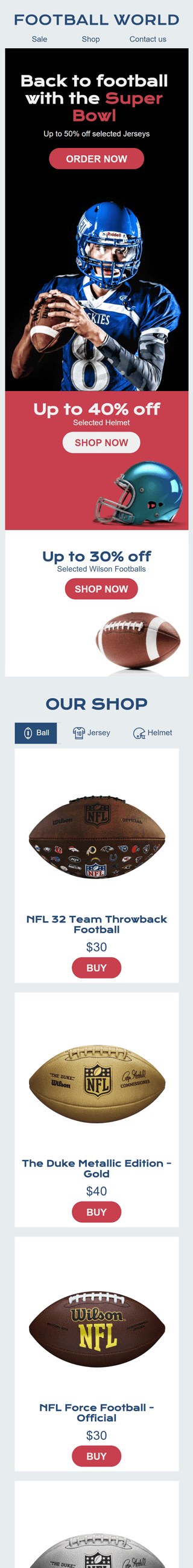 Super Bowl Email Template «Sport Attribute Shop» for Sports industry mobile view