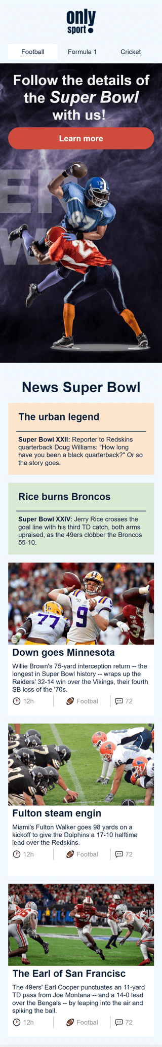 Super Bowl Email Template «Sport Blog» for Sports industry mobile view