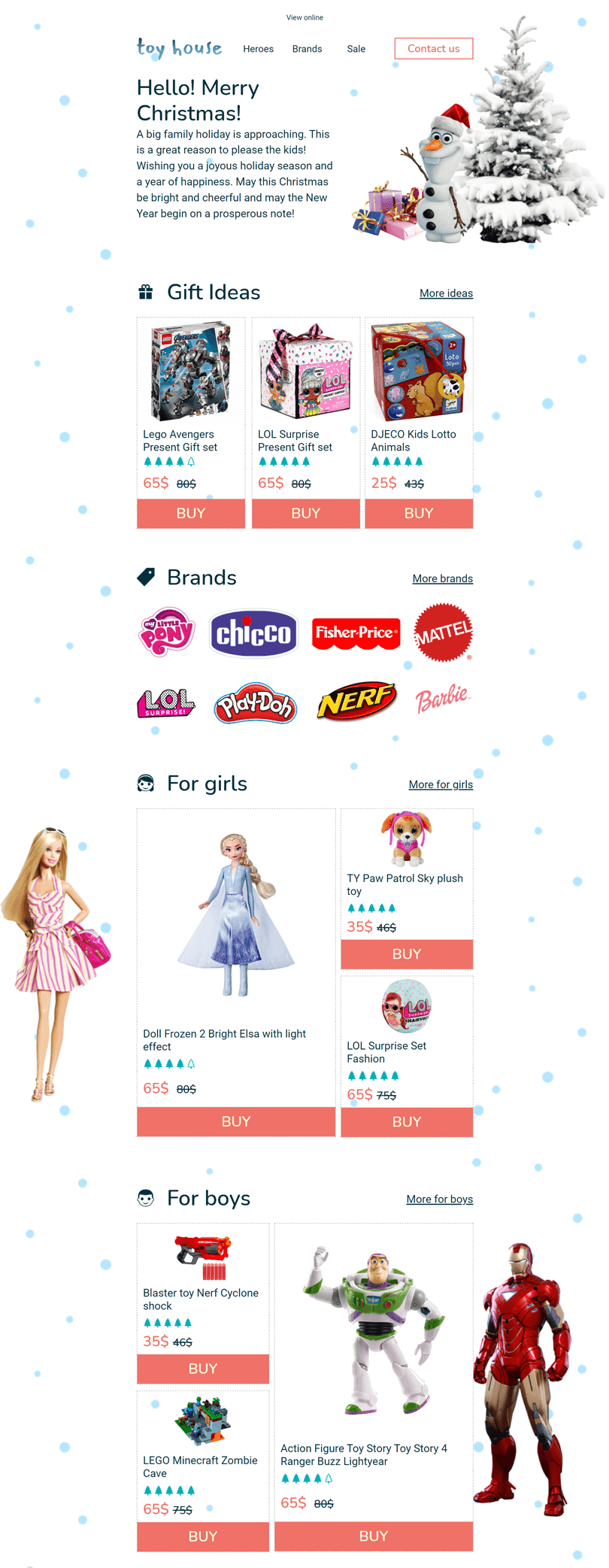 Christmas Email Template «Toy House» for Kids Goods industry desktop view