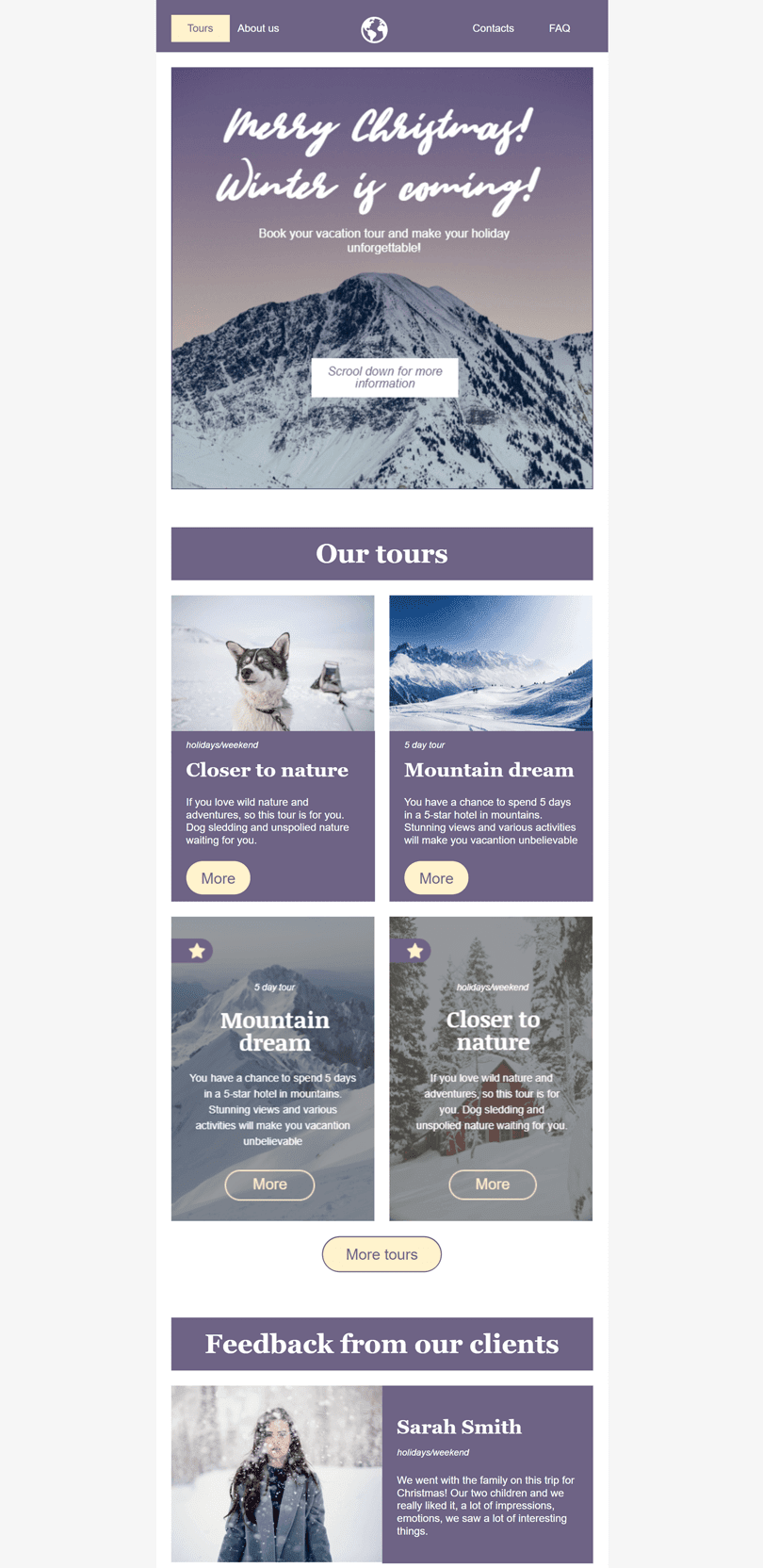 Christmas Email Template «Traveler» for Travel industry desktop view