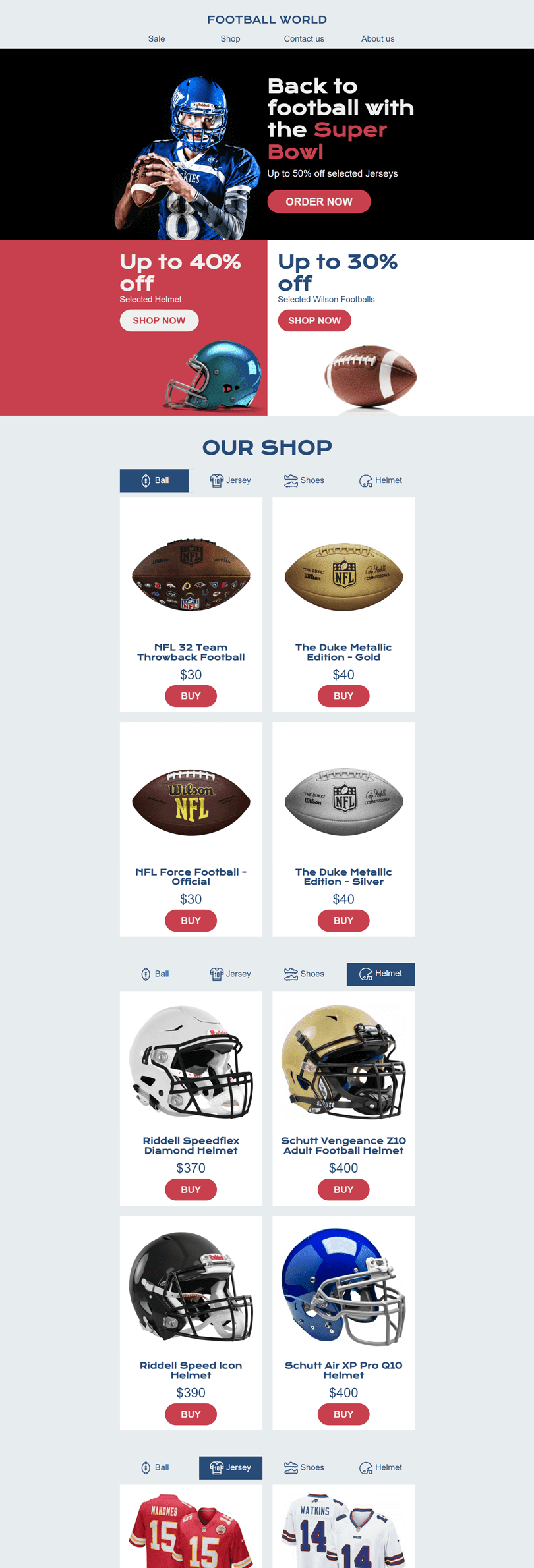 Super Bowl Email Template «Sport Attribute Shop» for Sports industry desktop view