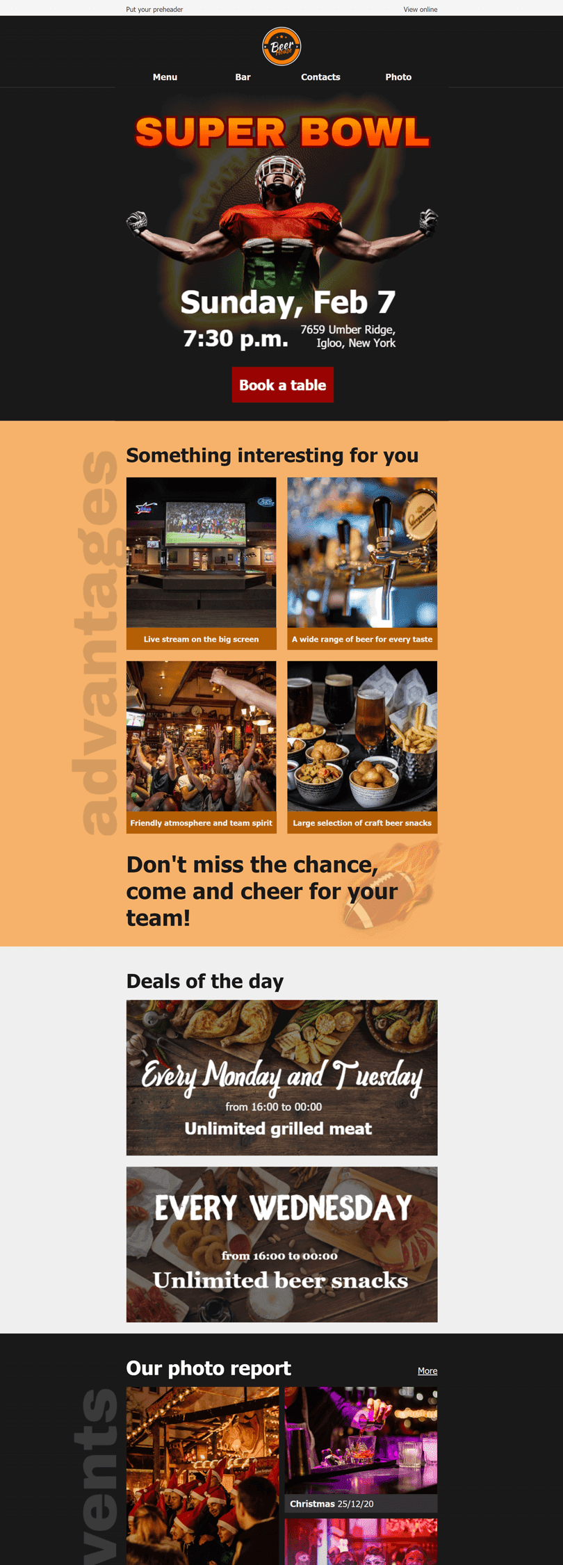 Super Bowl Email Template «Beer house» for Sports industry desktop view