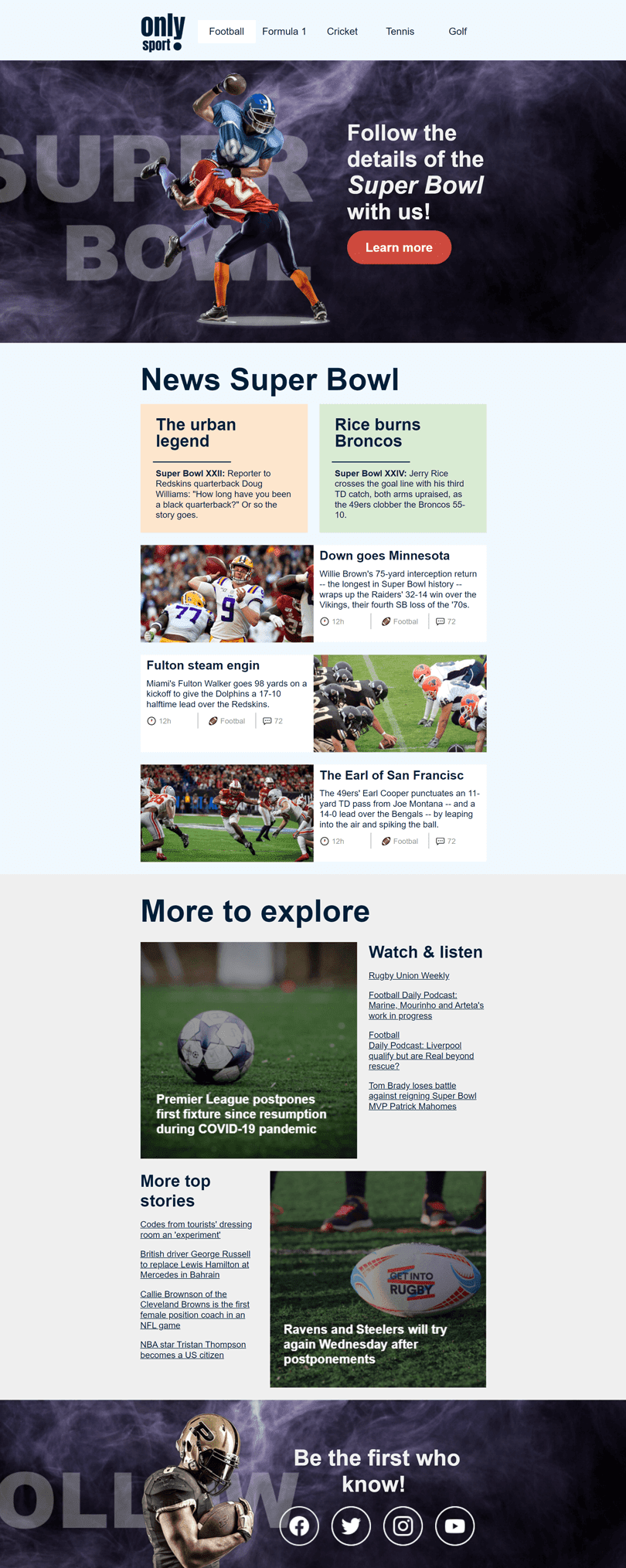 Super Bowl Email Template «Sport Blog» for Sports industry desktop view