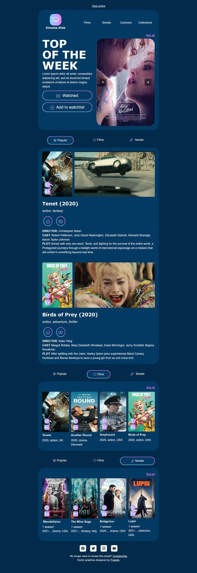 Promo Email Template «Top of the week» for Movies  industry desktop view