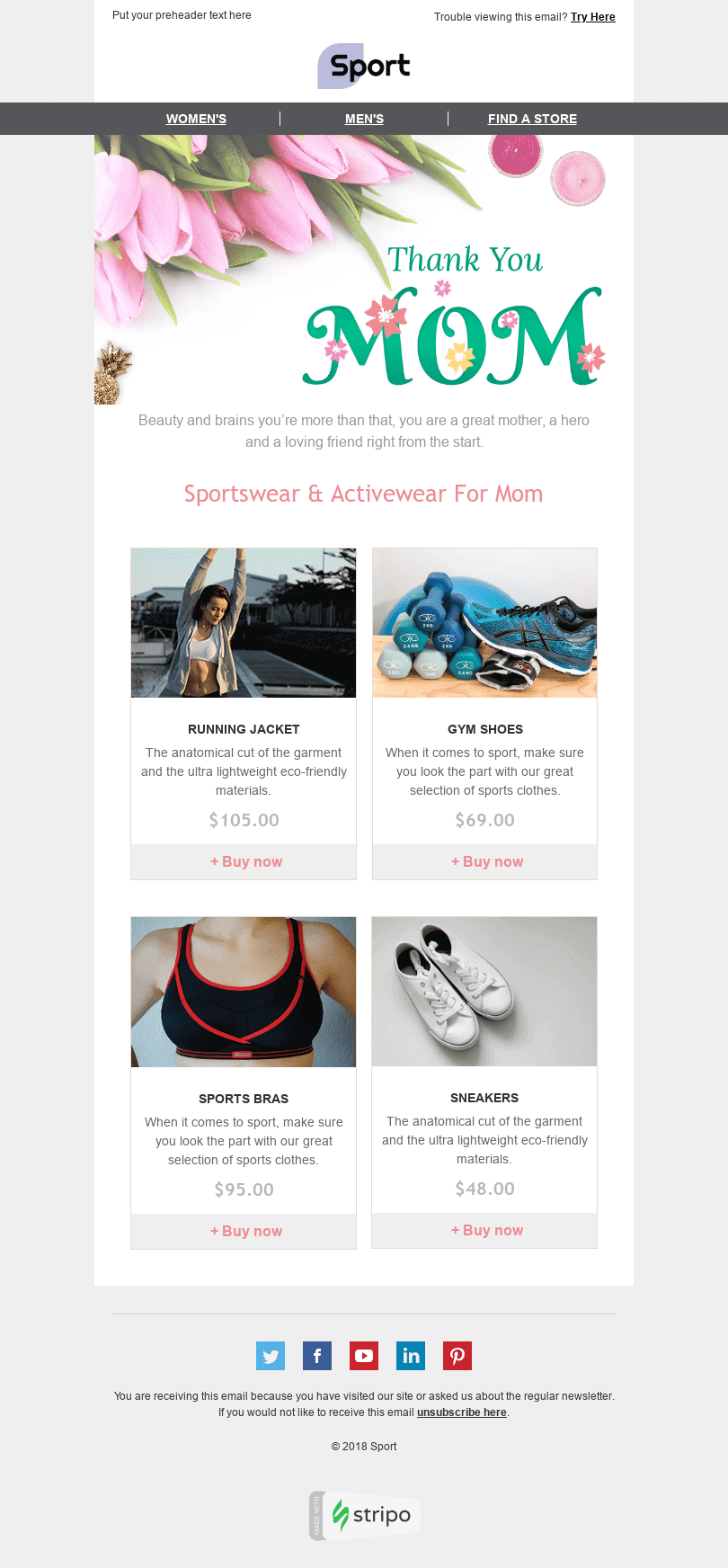 "Mother's Day Email Template ""Comfortable Clothing"" for Sports industry desktop view"