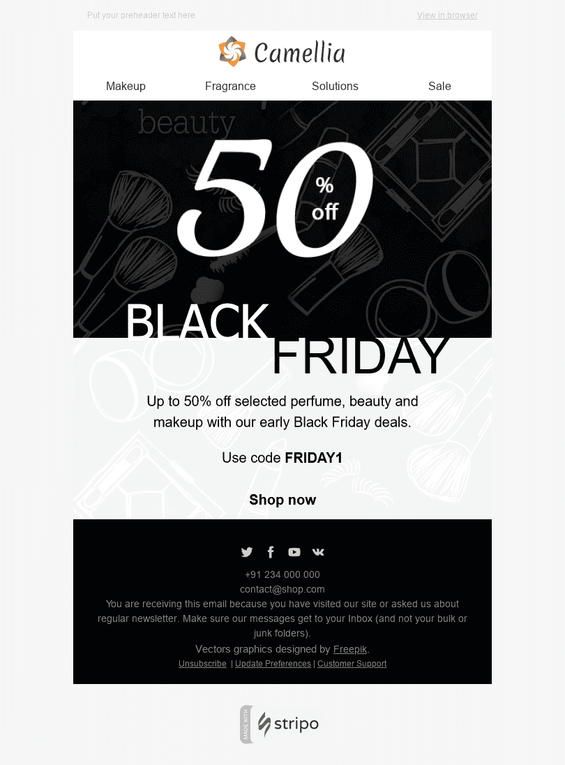 Stripo Cosmetics Holiday newsletter Black Friday Magnificent Offer email web