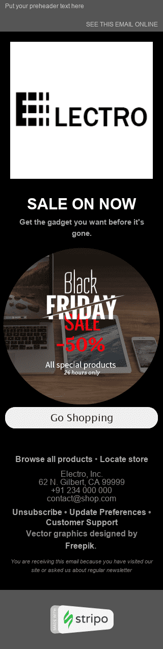 "Black Friday Email Template ""Dreams Come True"" for Gadgets industry mobile view"