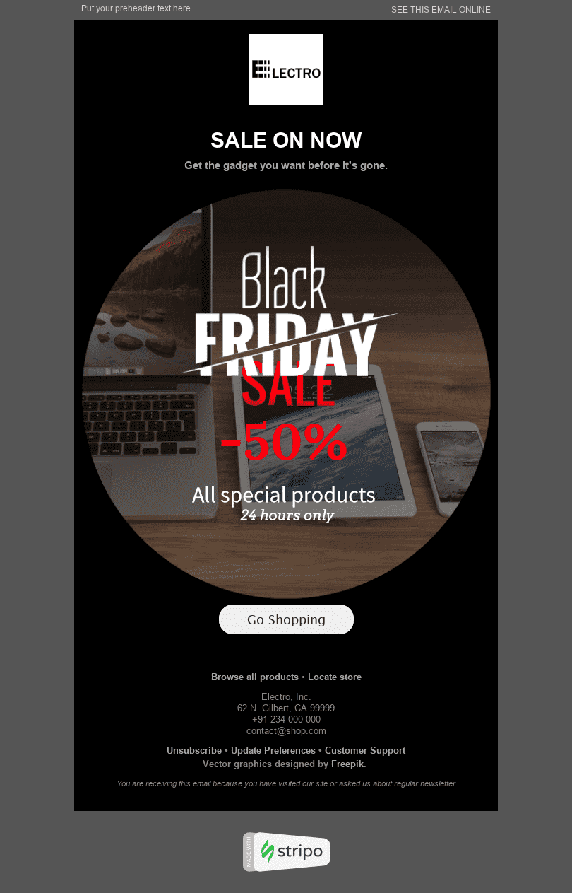 "Black Friday Email Template ""Dreams Come True"" for Gadgets industry desktop view"