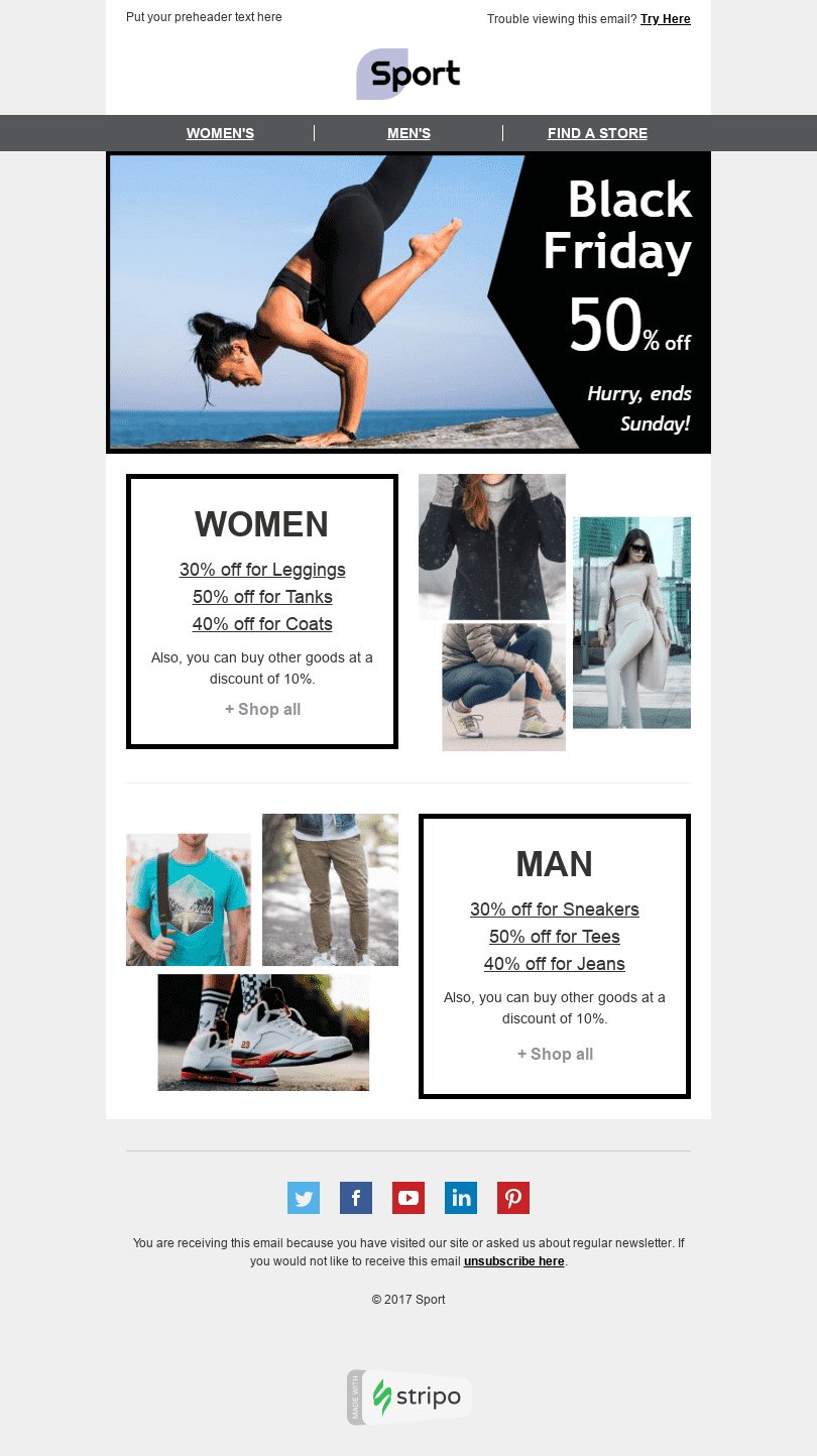 "Black Friday Email Template ""Flexible Prices"" for Sports industry desktop view"