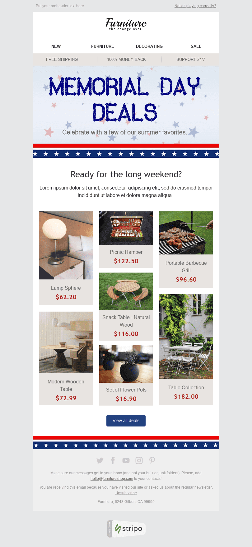 "Memorial Day Email Template ""Good Deal"" for Furniture, Interior & DIY industry desktop view"