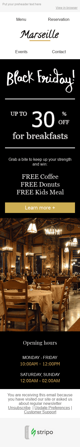 "Black Friday Email Template ""Free Goodies"" for Restaurants industry mobile view"