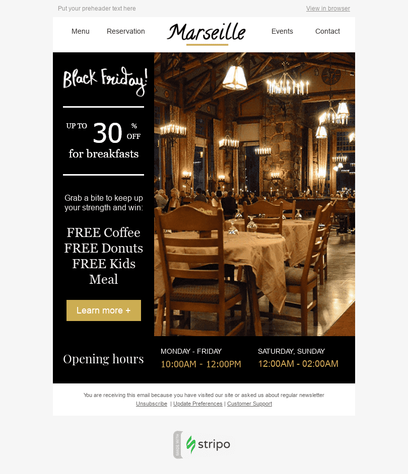 "Black Friday Email Template ""Free Goodies"" for Restaurants industry desktop view"