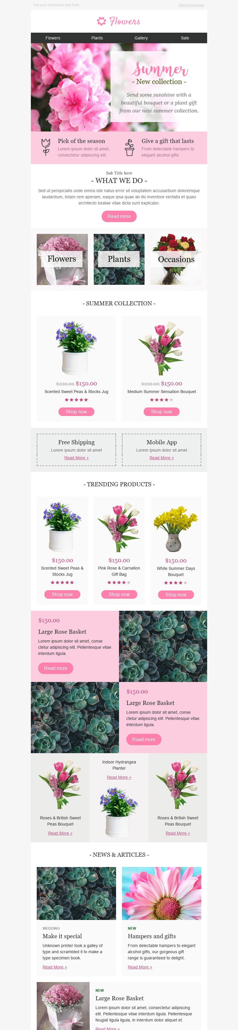 "Promo Email Template ""Special Occasion"" for Gifts & Flowers industry desktop view"