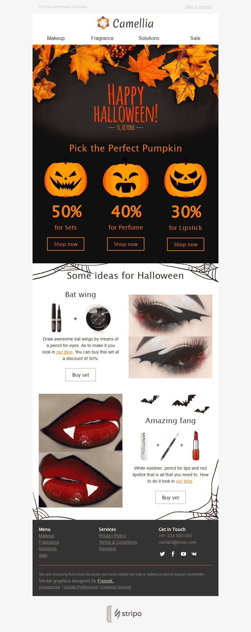 Stripo Cosmetics Holiday newsletter Halloween Awful Pretty Make up email web