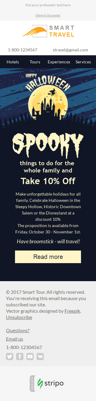 "Halloween Email Template ""Unforgettable Tours"" for Tourism industry mobile view"