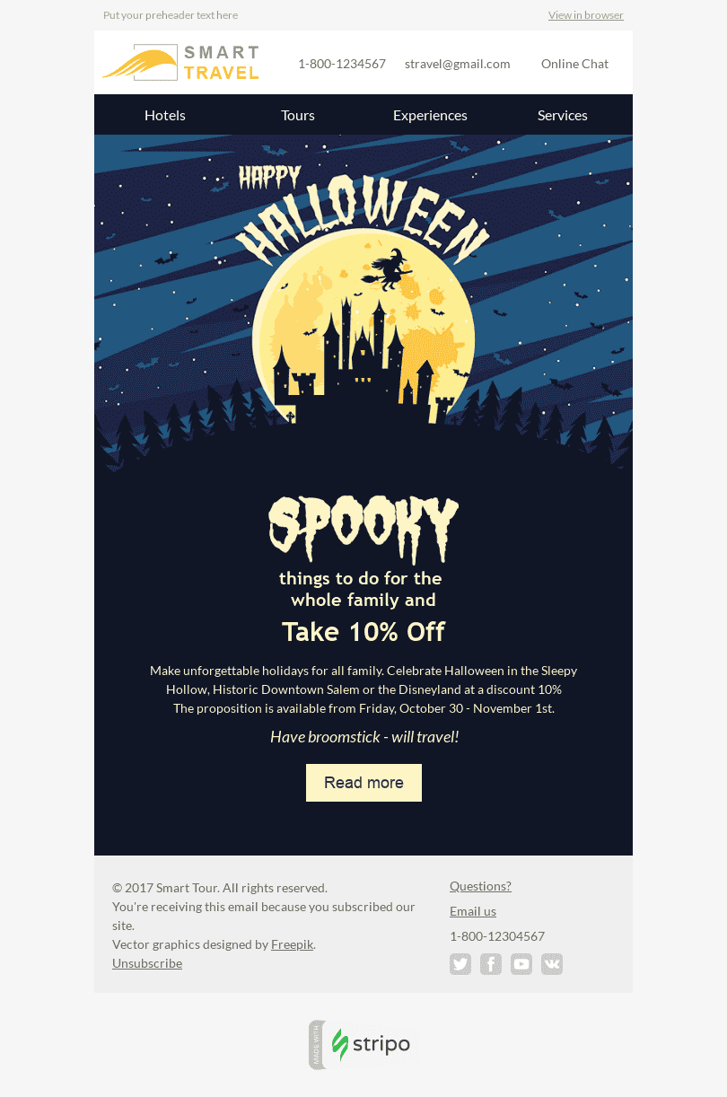 "Halloween Email Template ""Unforgettable Tours"" for Tourism industry desktop view"