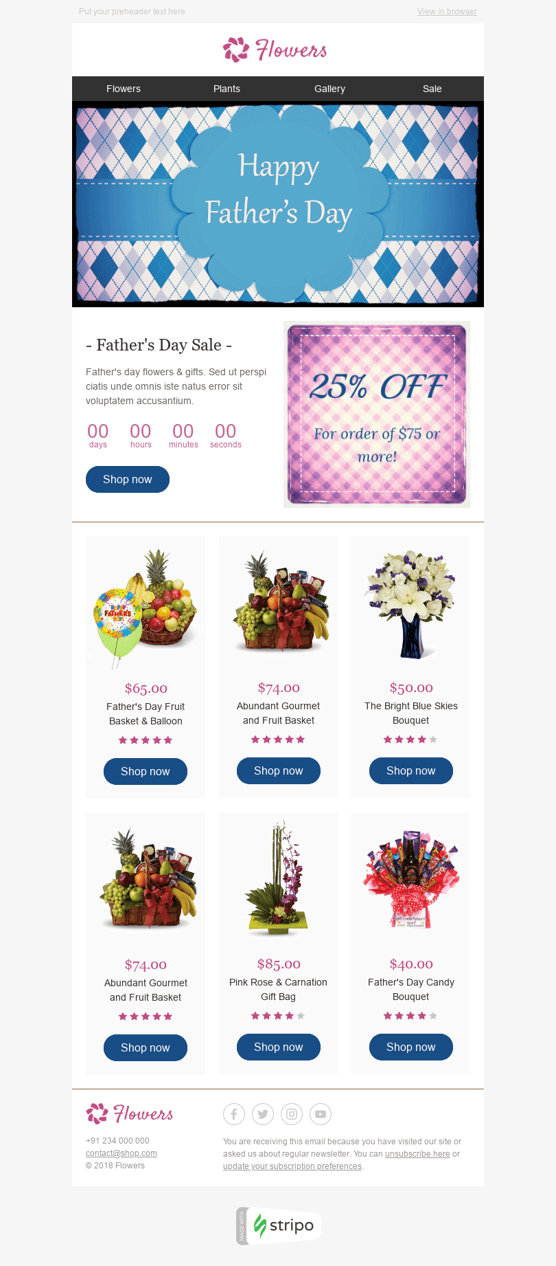 "Father's Day Email Template ""Tasty Bouquets"" for Gifts & Flowers industry desktop view"