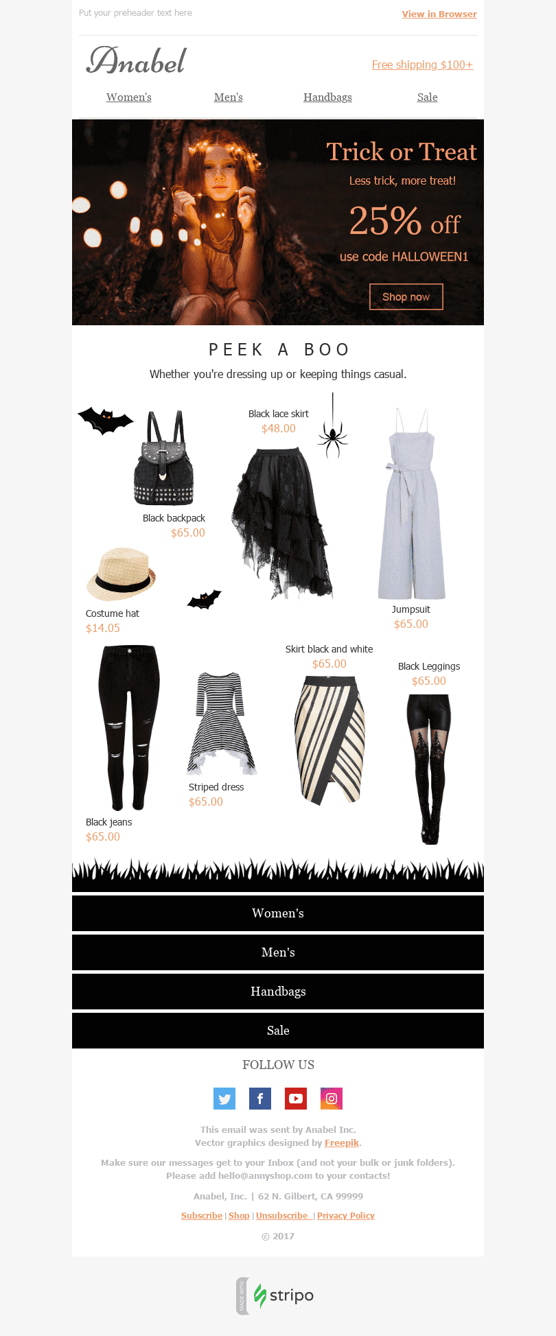 "Halloween Email Template ""Trick or Treat"" for Fashion industry desktop view"
