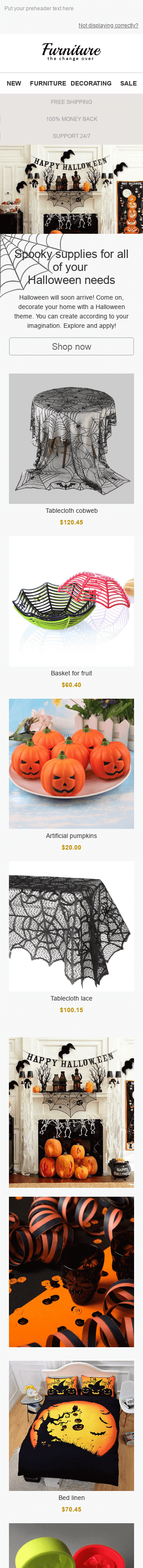 "Halloween Email Template ""Scary Decor"" for Furniture, Interior & DIY industry mobile view"