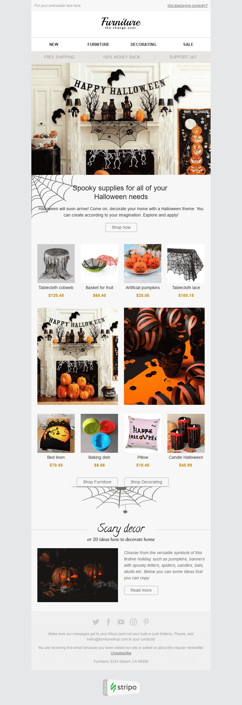 "Halloween Email Template ""Scary Decor"" for Furniture, Interior & DIY industry desktop view"