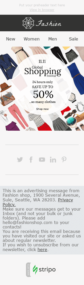 "Global Shopping Festival Email Template ""So Many Clothes"" for Fashion industry mobile view"