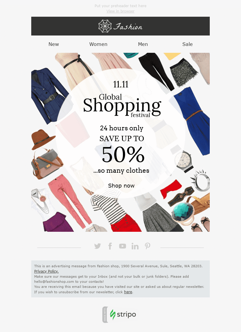 "Global Shopping Festival Email Template ""So Many Clothes"" for Fashion industry desktop view"