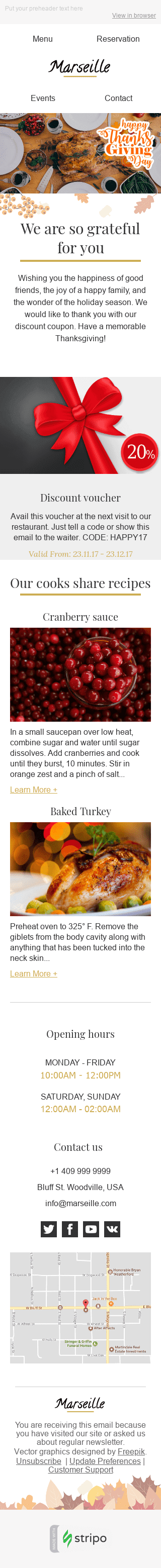 "Thanksgiving Day Email Template ""Favorite Recipes"" for Restaurants industry mobile view"